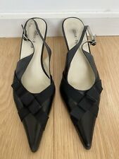 Jonak Paris Pointed Black Leather Kitten Heels Slingback Eur 36 Uk 3