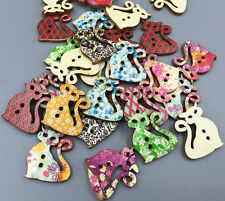 20X Retro Wooden buttons Printing Cat Sewing Scrapbooking decoration 2Holes 30mm