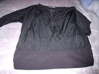 NICE Womens XL Jennifer Lopez BLACK Wrap Blouson TOP 3/4 Sleeves Sheer