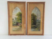 Paar Landschaften (Gegenstücke) signiert Frank Herbert 1890 Öl/Karton