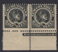 NEWFOUNDLAND 58 1894 1/2c BLACK DOG SCRATCH VARIETY POS 95 IN PAIR MPH EV$100