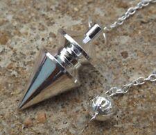 Silver plated disc cone shaped metal healing dowsing pendulum