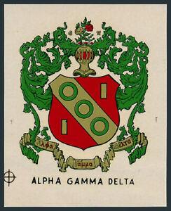 Alpha Gamma Delta _RARE_ Original 60's Fraternity Decal/Sticker VTG Coat of Arms