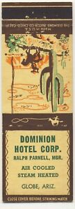 Matchbook Cover GLOBE Arizona 💥 Dominion HOTEL Corp.