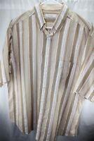 Turnbury XL ( NO SIZE TAG ) Tan Stripe Men's Short Sleeve Shirt