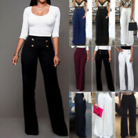 Women's Palazzo Wide Leg Culottes Pants Flared High Waist Loose OL Long Trousers