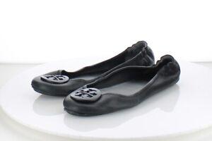 39-52 MSRP $228 Women's Sz 10.5 M Tory Burch Minnie Travel Ballet Flats - Black