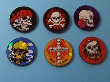Pogs Slammers * Miscellaneous Skulls * 6 Metal Slammers * Unused * Lot 1