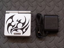GameBoy Advance GBA SP Tribal LimitedEdition Silver System AGS 001-Glass Screen