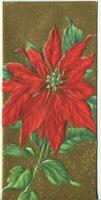 VINTAGE CHRISTMAS EMBOSSED GOLD RED POINSETTIA BOTANICAL  MCM ART GREETING CARD