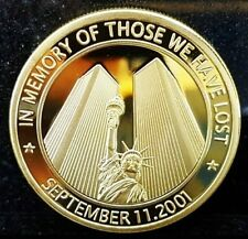"""1 Pièce plaquée OR GOLD Plated Coin - WTC 11 Septembre 2001 """" American Heroes """""""