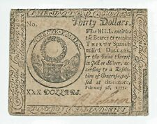 1777 $30 Dollar Bill Continental Currency Colonial Note Paper Money Cc-62 Vf