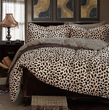 Leopard Print King Size Bed Quilt/Doona/Duvet Cover Set 100% Cotton 4PCS New