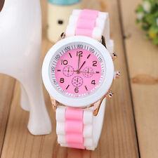Geneva Silikon Band Damenuhr Armbanduhr-Quarzuhr Analog Kristall Watch-Geschenk