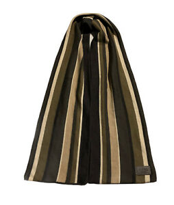 AUTHENTIC COACH MERINO WOOL SCARF BROWN STRIPES