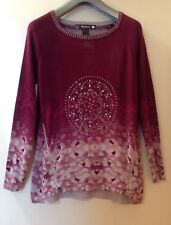 NEW WOMEN DESIGUAL ZIPPER DETAIL ANIMAL PRINT LONG SLEEVE SWEATER SZ M