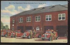 1930s POSTCARD PARRIS ISLAND SC/SOUTH CAROLINA MARINE BARRACKS FIRE DEPT TRUCKS