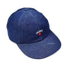 NWT Noah NY Men's Blue Rose Logo Embroidered Denim Cap Dad Hat FW17 AUTHENTIC