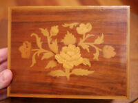 "Vintage Reuge Italian Wood Rose Inlay Music Jewelry Box ""What I Did For Love"""