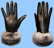 NEW Womens BLACK LEATHER GLOVES - CHINCHILLA FUR TRIM size 7