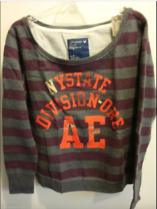 NWT Women American Eagle AE Graphic Fleece Sweatshirt Stripe GREY M,L,XL