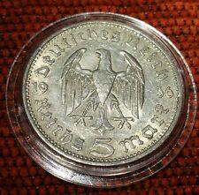 La Germania nazista 5 Marco 1936 A .900 SILVER MONETA PROT CAPS 464
