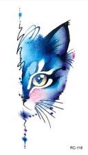 6bc754c45 BLUE CAT Temporary Tattoo 💙 Unisex 🇬🇧 UK SELLER Body Art 9x6 Cms Kitty  Cats