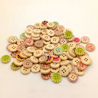 KQ_ PW_ Mixed Colorful Wood 4 Holes Round Buttons for Sewing Scrapbooking Crafts