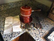 Vintage Retro 1970's Fondue Pot Set - Orange With Six Skewers