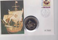 Numisbrief 5 Dollars Cook Islands 1991 500 Years of America mit 1 $ Briefmarke