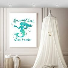 MERMAID Wall Print,Girls wall print, mermaid Wall Print,mermaid hair print