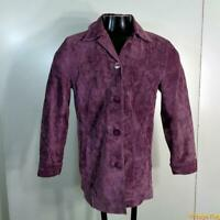 BERNARDO Soft Suede LEATHER Jacket Blazer Womens PS Purple Buttoned coat