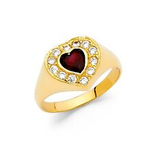 Gold Love Halo Band Fashion Stylish Fancy Cz Red Heart Ring Solid 14k Yellow