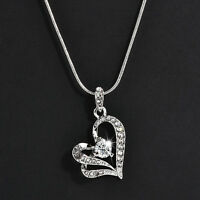 Fashion Women Heart Crystal Rhinestone Pendant  Silver Chain Necklace Jewelry