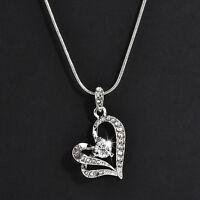 Fashion Women Heart Crystal Rhinestone Pendant  Silver Chain Necklace Jewelry