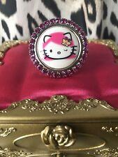 Tarina Tarantino Pink Head Hello Kitty Cameo Fuchsia Pink Crystal Swarovski Ring