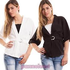 Giacca donna cintura maniche 3/4 kimono maglia giacchetto sexy nuova CC-1274
