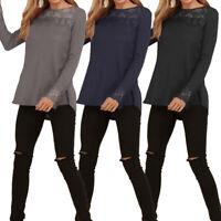 Mode Femme Casuel Simple Couture en dentelle Manche Longue Loose Haut Shirt Plus