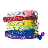 Adjustable Puppy Bone Collar Warning Bell Cat Pet Kitten Snap Buckle Colourful