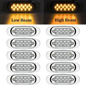 """10x 6.5"""" LED Side Marker Turn Signal Light For Peterbilt Mack Chrome 16LED Amber"""