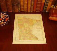 Original 1890 Antique Map MINNESOTA Hutchinson Duluth Eagan Coon Rapids MN