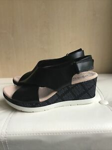Ladies CLARKS Collection 'Cammy Pearl' Leather Wedge Sandals Size Uk 6 Eu 39.5