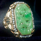 ANTIQUE SIZE 6.5 14K SOLID GOLD SEED PEARL ACCENTED JADE RING 5.2g.   (E36)