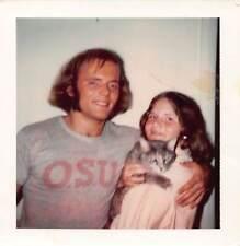 Osu Hottie - Mutton Chop Long Hair Handsome Man Girlfriend & Cat Vtg Photo 155