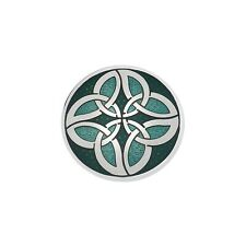 Sea Gems - Celtic Knot Circles Silver Plated Enamel Brooch - Rrp £24.95
