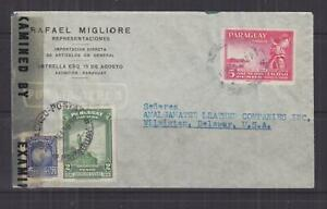 PARAGUAY, 1943 Airmail Censored cover to USA, 2p., 5p. & 70p.