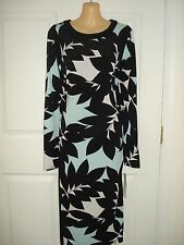Maggy London Wear to Work Long Sleeve Multi-Color Leaf Print  Sheath Dress Sz 12