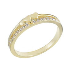 Ladies 18K White Gold Plated Heart Zirconia Ring Wedding Engagement XMAS Gift