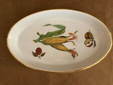 Royal Worcester Evesham oval gold baking porcelain dish ear of corn apples