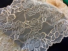 """6.5"""" Wide Beige Blush Skin Color Stretch Lace with Floral Pattern Scalloped"""